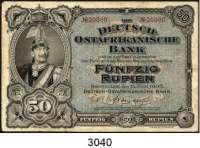 P A P I E R G E L D,D E U T S C H E      K O L O N I E N Deutsch-Ostafrika50 Rupien 15.6.1905.  KN 5-stellig.  Ros. DOA-3 c.