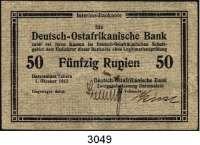 P A P I E R G E L D,D E U T S C H E      K O L O N I E N Deutsch-Ostafrika50 Rupien 1.10.1915.  Rückseitig gestempelt