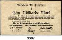 P A P I E R G E L D,Militärgeld Reichsmarine des Ostseebereichs Kiel 19231 Milliarde Mark 27.10.1923.  Gutschein Nr. 1975.  Ros. MIL-5 a.