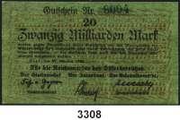 P A P I E R G E L D,Militärgeld Reichsmarine des Ostseebereichs Kiel 192320 Milliarden Mark 27.10.1923.  Gutschein Nr. 8004.  Ros. MIL-7 a.