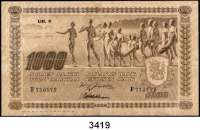 P A P I E R G E L D,Besatzungsausgaben des II. Weltkrieges FinnlandSuomen Pankki (Finlands Bank).  1939-1945.  1000 Markka 1922(Lit. C, Ausgabe 1941-1944).  KN F 715172.  Grabowski/Huschka/Schamberg SU 8 a.  Pick 67.