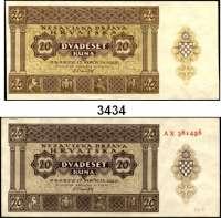 P A P I E R G E L D,Besatzungsausgaben des II. Weltkrieges KroatienUnabhängiger Staat Kroatien.  50, 100(2), 500, 1000 Kuna 26.5.1941.  10 Kuna 30.8.1941.  50 Banica, 1 Kuna, 2 Kune 25.9.1942.  Kroatische Staatsbank 1943.  5000 Kuna 15.7.1943.  100, 1000, 5000 Kuna 1.9.1943.  Grabowski/Huschka/Schamberg CR-1, 2(2), 3, 4, 5 a, b, 6 a, b, 7 a, b, 8 a, b, 9 a, b, 11 a, b, 12, 14, 15.  Pick 1, 2(2), 3, 4, 5(2), 6(2), 7(2), 8(2), 9(2), 11, 12, 13, 14(2).  LOT 20 Scheine.