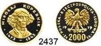 AUSLÄNDISCHE MÜNZEN,Polen Volksrepublik2000 Zlotych 1979.  (7,2 g.).  Nikolaus Kopernikus.  Schön 94.  KM 106.  Fb. 122.  GOLD
