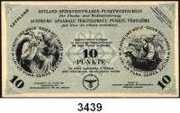 P A P I E R G E L D,Besatzungsausgaben des II. Weltkrieges LettlandOstland Spinnstoffwaren-Punktwertscheine.  Ausgabe für Lettland 1943-1945.  3(2), 5 und 10 Punkte (bis 30.4.1945).  Grabowski/Huschka/Schamberg LE 77 a, b, 78 b, 79 b.  LOT 4 Scheine.