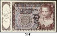 P A P I E R G E L D,Besatzungsausgaben des II. Weltkrieges NiederlandeDe Nederlandsche Bank 1940-1945.   25 Gulden 5.4.1944.  Grabowski/Huschka/Schamberg NL 9 b.  Pick 60.