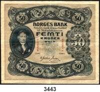 P A P I E R G E L D,Besatzungsausgaben des II. Weltkrieges NorwegenNorges Bank 1940-1945.  50 Kronen 1941.  Serie C.  Grabowski/Huschka/Schamberg NG 3 c.  Pick 9.