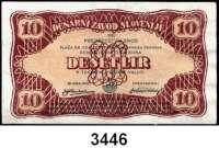 P A P I E R G E L D,Besatzungsausgaben des II. Weltkrieges SlowenienSlowenische Notenbank 1944.  1, 10(2) Lir o.D.  (20.2.1944-12.3.1944).  Grabowski/Huschka/Schamberg SL 1 b, 3 b, c.  Pick S 110 und 112(2).  LOT 3 Scheine.