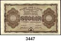 P A P I E R G E L D,Besatzungsausgaben des II. Weltkrieges SlowenienSlowenische Notenbank 1944.  5(2), 10, 100 Lir o.D.  (20.2.1944-12.3.1944).  Grabowski/Huschka/Schamberg SL 5(2), 6, 8.  Pick S 114(2), 115, 117.  LOT 4 Scheine.