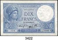 P A P I E R G E L D,Besatzungsausgaben des II. Weltkrieges FrankreichBanque de France.  10 Francs 10.10.1940, 12.12.1940, 9.1.1941(2).   Grabowski/Huschka/Schamberg FR 11 b, j, m(2).  Pick 84.  LOT 4 Scheine.