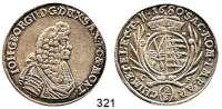 Deutsche Münzen und Medaillen,Sachsen Johann Georg II. 1656 - 16802/3 Taler 1680 CF, Dresden.  15,49 g.  Clauss/Kahnt 407.  Dav.806.