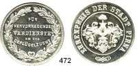 M E D A I L L E N,Landwirtschaft Pirna,  Silbermedaille o.J.  Ehrenpreis der Stadt.  Für hervorragende Verdienste um die Geflügelzucht.  38 mm.  25,12 g.