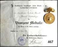 M E D A I L L E N,Landwirtschaft Mecklenburg-Schwerin,  Tragbare vergoldete Bronzemedaille o.J. mit emaillierter  Spange.  Medaille der Landwirtschaftskammer