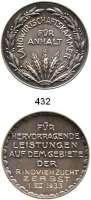 M E D A I L L E N,Landwirtschaft Anhalt,  Silbermedaille 1933  Landwirtschaftskammer für Anhalt.  Medaille für hervorragende Leistungen auf dem Gebiete der Rindviehzucht ZERBST 1. VII. 1933.  40,2 mm.  25,36 g.  Rand : 900 SILBER.