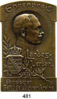 M E D A I L L E N,Landwirtschaft Sachsen,  Einseitige Bronzeplakette o.J.  Ehrenpreis des Landesverbandes sächsischer Geflügelzüchter.  47 x 75 mm.  79,46 g.