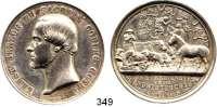 Deutsche Münzen und Medaillen,Sachsen - Coburg und - Gotha Ernst II. 1844 - 1893Silbermedaille 1857 (Helfricht).  Auf die landwirtschaftliche Ausstellung in Gotha.  Kopf n. l. / Nutztiere.  44,8 mm.  43,8 g.