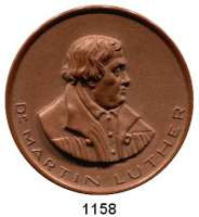 MEDAILLEN AUS PORZELLAN,Staatliche Porzellan-Manufaktur MEISSEN Meisseno.J.(1930) braun.  Luther-Erinnerung.  Gipsform.