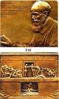 M E D A I L L E N,Medailleur Heinrich Kautsch (1859 - 1943) 1905.  Bronzeplakette.  Albert Bartholomé (1848-1928, französischer Maler und Bildhauer).  99 x 78 mm.  261,78 g.