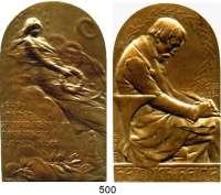 M E D A I L L E N,Medailleur Heinrich Kautsch (1859 - 1943) o.J.  Bronzeplakette, oben abgerundet.  Heinrich Heine (1797-1856).  44 x 75 mm.  108,1 g.
