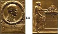 M E D A I L L E N,Medailleur Heinrich Kautsch (1859 - 1943) 1916.  Bronzeplakette.  Karl I. von Österreich.  Auf seinen Regierungsantritt.  56 x 75 mm.  143,3 g.