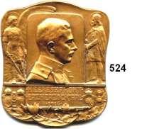 M E D A I L L E N,Medailleur Heinrich Kautsch (1859 - 1943) 1916.  Einseitige Bronzeplakette.  Auf den Heeresfront Erzherzog Karl von Österreich.  59 x 68 mm.  108 g.