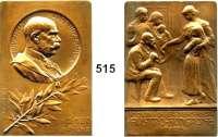 M E D A I L L E N,Medailleur Heinrich Kautsch (1859 - 1943) 1908.  Bronzeplakette.  60jähriges Regierungsjubiläum.  Widmung von der österr.-ungarischen Wohltätigkeitsvereinigung in Paris.  50 x 73 mm.  123,4 g.