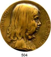 M E D A I L L E N,Medailleur Heinrich Kautsch (1859 - 1943) o.J. (1903)  Einseite Bronzemedaille.  Margo Lenbach (Tochter des Münchener Malers Franz von Lenbach).  Kinderporträt n. r.  60 mm.  91,6 g.