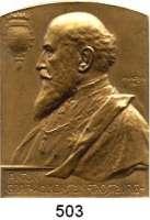 M E D A I L L E N,Medailleur Heinrich Kautsch (1859 - 1943) 1901.  Einseitige Bronzeplakette, oben abgerundet.  Anton Graf Wolkenstein-Trostburg.  38 x 50 mm.  44,4 g.