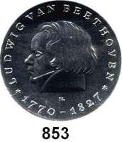 Deutsche Demokratische Republik   PP-Patina !!!!!, 10 Mark 1970.  Beethoven.  Aluminiumabschlag der Vorderseite.