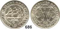 R E I C H S M Ü N Z E N,Weimarer Republik 3 Reichsmark 1927 A.  Bremerhaven