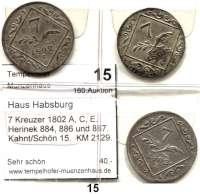 Römisch Deutsches Reich,Haus Habsburg Franz II. 1792 - 1806 (1835) 7 Kreuzer 1802 A, C, E.  Herinek 884, 886 und 887.  Kahnt/Schön 15.  KM 2129.  LOT 3 Stück.