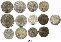 Österreich - Ungarn,Habsburg - Lothringen LOTS       LOTS       LOTS3 Kreuzer 1815 A, 1820, 1820 B, 1826 A, 1828 B, 1830 A, 1832 A(2); 5 Kreuzer 1820 A, B(2), 1821 A und 10 Kreuzer 1815 A.  LOT 13 Stück.