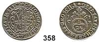 Deutsche Münzen und Medaillen,Sachsen Johann Georg II. 1656 - 1680 1/24 Taler 1661 CR.  2,17 g.  Kahnt 434.