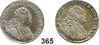 Deutsche Münzen und Medaillen,Sachsen Friedrich August II. 1733 - 1763 1/6 Taler 1763 FWôF, Dresden.  Kahnt 565.  LOT 2 Stück.