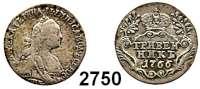 AUSLÄNDISCHE MÜNZEN,Russland Katharina II. 1762 - 1796 Grivennik 1766, St. Petersburg.  2,53 g.  Bitkin 469.  Craig 61a.3.