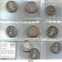 AUSLÄNDISCHE MÜNZEN,Portugal Karl I. 1889 - 1908 200 Reis 1898; 500 Reis 1891, 1893, 1896, 1898, 1899, 1901, 1903 und 1907.  LOT 9 Stück.
