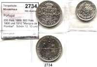 AUSLÄNDISCHE MÜNZEN,Portugal Manuel II. 1908 - 1910 200 Reis 1909; 500 Reis 1908 und 1910