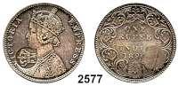 AUSLÄNDISCHE MÜNZEN,Moçambique  1 Rupie 1890 (Brit. Indien) mit Gegenstempel (Krone über PM = Provincia de Mocambique).  KM 54.2.  (Indien KM 492).