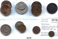 AUSLÄNDISCHE MÜNZEN,Moçambique  I Reis 1853; II Reis 1853; 50 Centavos 1936, 1957; 1 Escudo 1936, 1945, 1953, 1957, 1973, 1974; 2 1/2 Escudos 1935; 20 Escudos 1955.  LOT 12 Stück.