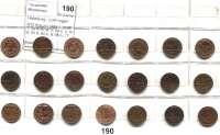 Österreich - Ungarn,Habsburg - Lothringen Franz Josef I. 1848 - 19165/10 Kreuzer 1858 A, B, M, V; 59 A, B, M, V; 60 A, V; 61 B; 63 B; 64 A, B; 66 A, 77, 81, 85(2) und 1891(2).  Frühwald 1680/1705.  LOT 21 Stück.