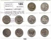 Österreich - Ungarn,Habsburg - Lothringen Franz Josef I. 1848 - 191610 Kreuzer 1855 A; 58 A; 63 A; 64 A; 65 V; 68; 69; 70; 72(2).  LOT 10 Stück.