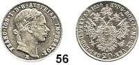 Österreich - Ungarn,Habsburg - Lothringen Franz Josef I. 1848 - 191620 Kreuzer 1854 E, Karlsburg.  Frühwald 1570.
