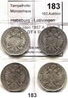 Österreich - Ungarn,Habsburg - Lothringen Franz Josef I. 1848 - 19161/4 Gulden 1857 A, 58 A, B und E.  LOT 4 Stück.