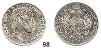 Österreich - Ungarn,Habsburg - Lothringen Franz Josef I. 1848 - 1916Gulden 1863 E, Karlsburg.  Frühwald 1470.