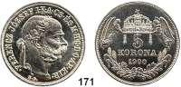 Österreich - Ungarn,Habsburg - Lothringen Franz Josef I. 1848 - 19165 Korona 1900 KB, Kremnitz.  Off. Neuprägung.  zu Frühwald 2106.