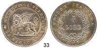 Österreich - Ungarn,Habsburg - Lothringen Revolution 1848 - 18495 Lire 1848 V, Venedig.  Frühwald 1083.  Jl. 271.