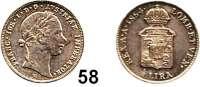 Österreich - Ungarn,Habsburg - Lothringen Franz Josef I. 1848 - 19161/2 Lira 1854 V, Venedig.  Prägung für Lombardei/Venetien.  Frühwald 1868.  Jl. 306.