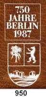 Deutsche Demokratische Republik   PP-Patina !!!!!, 5 Mark 1987.    Münzmappe zur 750 Jahrfeier Berlins    In Kunstlederhülle, diese mit zusätzlichem Wappenaufdruck