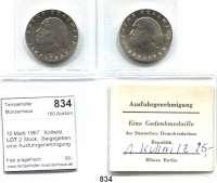 Deutsche Demokratische Republik   PP-Patina !!!!!, 10 Mark 1967.  Kollwitz.  LOT 2 Stück.  Beigegeben eine Ausfuhrgenehmigung