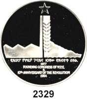AUSLÄNDISCHE MÜNZEN,Äthiopien  50 Birr 1977/84.  Schön 67.  KM 75.  10. Jahrestag der Revolution.  Im Etui.