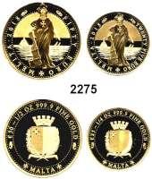 AUSLÄNDISCHE MÜNZEN,E U R O  -  P R Ä G U N G E N Malta 25 und 50 Euro 2018.  (1/4 und 1/2 Unze, 7,77g und 15,55g fein).  MELITA Gold.  LOT 2 Stück.  Jeweils im Etui.  GOLD